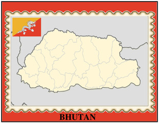 Bhutan national emblem map coat flag business background