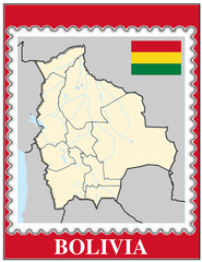 Bolivia national emblem map coat flag business background