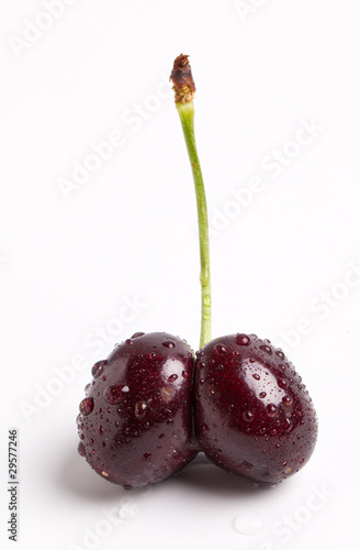 Ripe Wet Double Cherry Stem