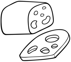 Edam Cheese - Black and White Cartoon illustration