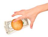 Hand stealing a money-stuffed burger poster
