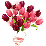 Fototapety Bunch of tulips and small card isolated on white background