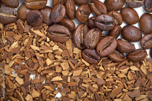background from coffee grains and soluble coffee
