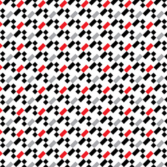 A seamless pixel pattern in white red grey and black.