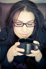 beautiful woman with a cup of coffee