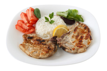 grilled pork with boiled rice and vegetables