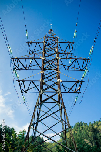 electricity tower and distribution cables