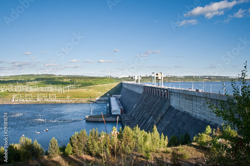 Hydroelectric station on Angara river, Ust-Ilimsk city, Siberia