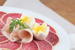 Parmesan crust salami with ham and eggs
