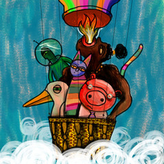 A group of colorful fantasy character fly in a balloon