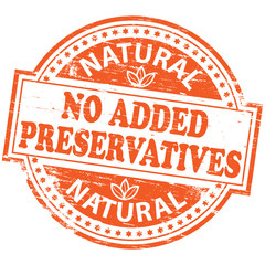 "Rubber stamp illustration showing ""NO ADDED PRESERVATIVES"" text"