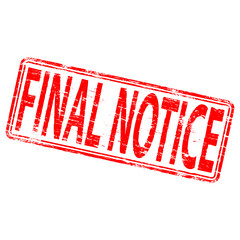 "Rubber stamp illustration showing ""FINAL NOTICE"" text"