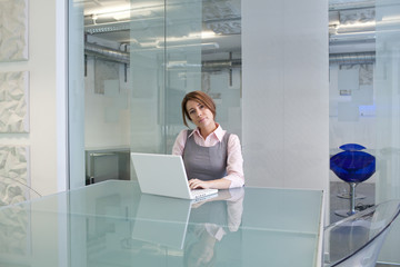 Girl working with a computer
