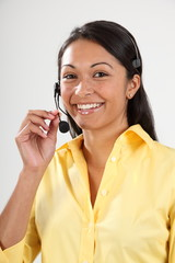 Good customer service smiling female receptionist