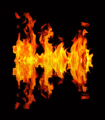 Blazing fire reflection