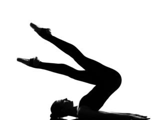 woman ballet dancer halasana Shoulder Stand yoga pose