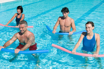 Aquagym exercise with tube