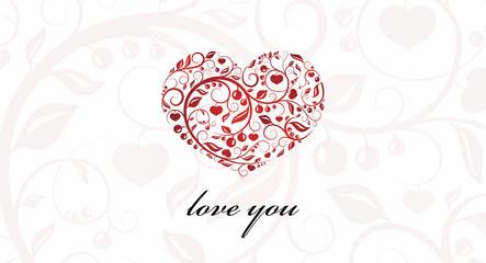 Vector. Valentine card heart ornament.
