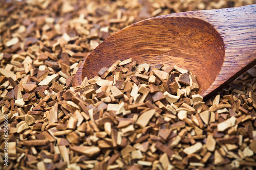 wood spoon of soluble coffee
