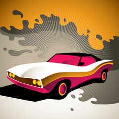 Illustration of stylized muscle car.