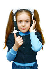 girl in headsets listening music