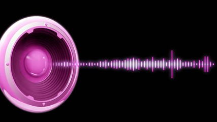 Flyer audio spectre rose fond noir animation