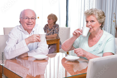 Seniors drinking coffee