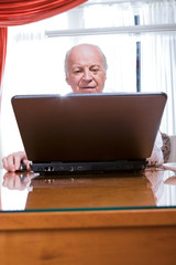 Grandfather using a computer