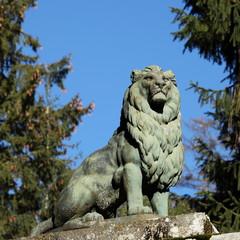 Old Lion Statue Sculpture  19thC