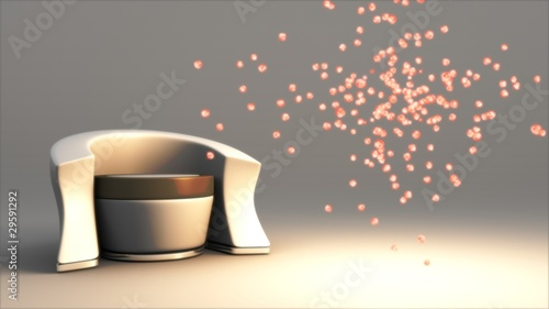 Modern Chair with Particles Emanating