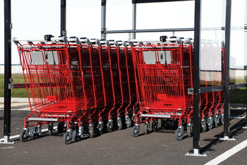 Red Shopping Trolleys Carts Outdoors