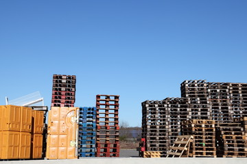 Small Cargo Shipping Containers and Pallets