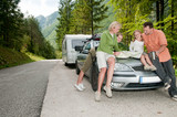 Fototapety Family with camping car on the road