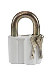 Padlock with keys on white background
