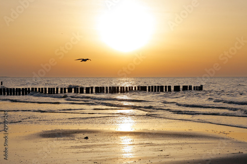 canvas print picture ostsee sunset