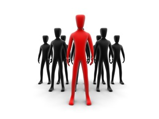 Leadership concept with 3d humans
