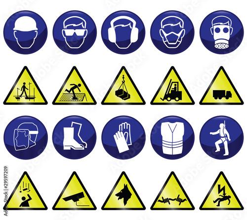 zwiazane-z-budowa-obowiazkowe-i-niebezpieczne-ikony-i-znaki