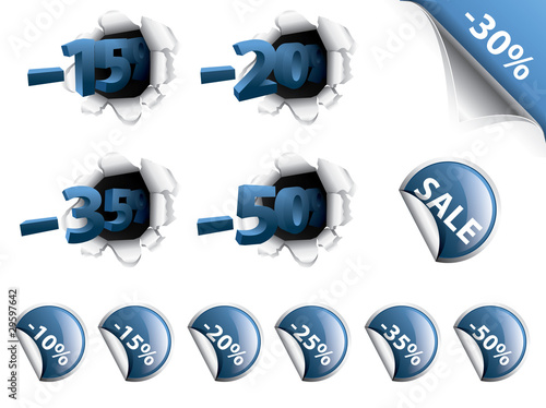 Set of blue discount stickers, corners, 3d tags