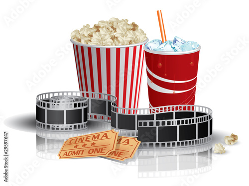 Popcorn, drink and filmstrip - 29597647