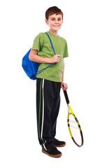 Tennis boy isolated on white
