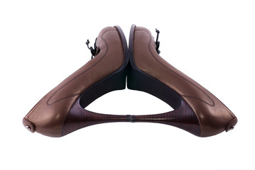 Pearl brownish women's shoes with black  laces.