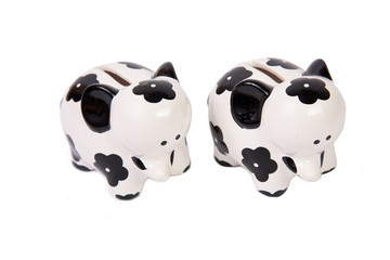 Two elephants of a coin box on a white background