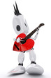 awesome robot rock star playing a heart shaped guitar