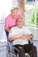 Happy couple in the retirement house