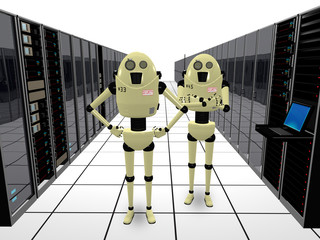 Robots guarding computers