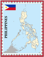 Philippines national emblem map coat flag business background