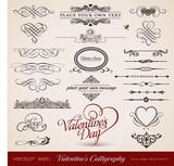 vector set: Calligraphic design elements for Valentine's Day