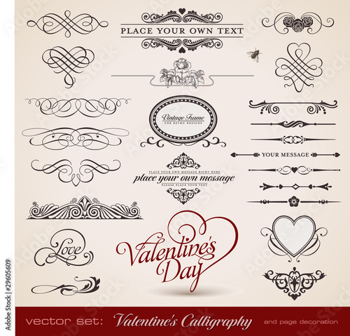 vector set: Calligraphic design elements for Valentine's Day