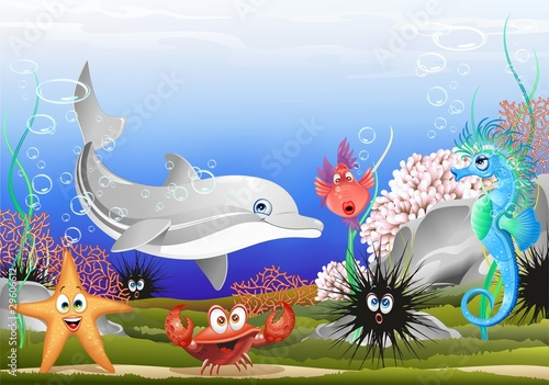 Animali Mare Sfondo Marino-Sea Animals Background-Vector