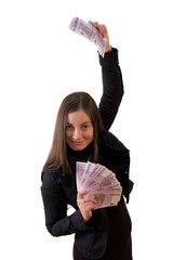 girl holding a fan of money.